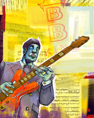 """BB the King"" Digital Mixed Media, 11"" x 14"" by artist Juliette Hemingway. See her portfolio by visiting www.ArtsyShark.com"