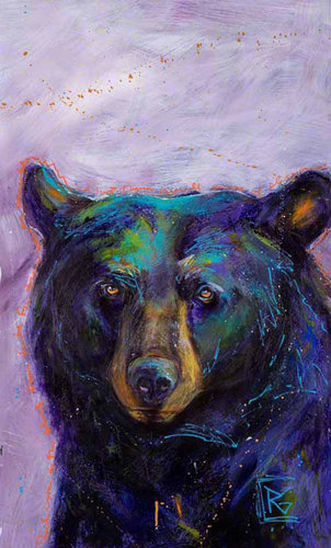 """Gratitude Series: Black Bear I"" Acrylic on Yupo Paper, 35"" x 23"" by artist Rosemary Conroy. See her portfolio by visiting www.ArtsyShark.com"