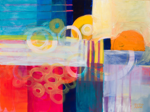 """Travel to Chan"" Acrylic on Canvas, 30"" x 40"" by artist Ruth-Anne Siegel. See her portfolio by visiting www.ArtsyShark.com"