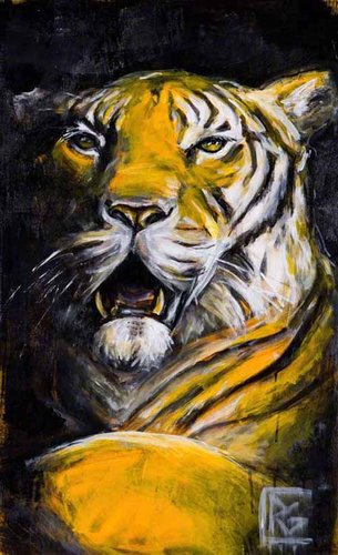 """Gratitude Series: Tiger II"" Acrylic on Yupo Paper, 35"" x 23"" by artist Rosemary Conroy. See her portfolio by visiting www.ArtsyShark.com"