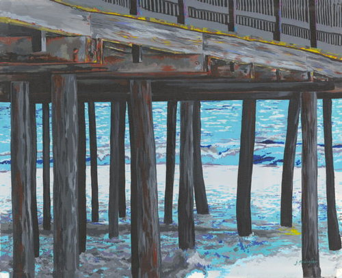 """Pier"" acrylic, 16"" x 20"" by Joan Gallagher. See her artist feature at www.ArtsyShark.com"