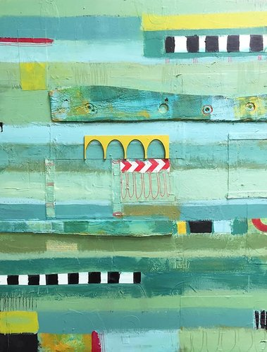 """Green Horizontal"" Mixed Media on Cradled Wood Panel, 18"" x 24"" by artist Paige Hirsch. See her portfolio by visiting www.ArtsyShark.com"