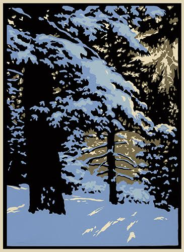 """Winter Woods I"" linoleum block print by Laura Wilder. See her feature at www.ArtsyShark.com"