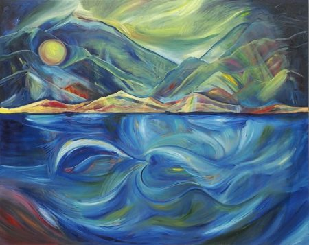 """Milford Sound"" Oil on Canvas, 60"" x 48""by artist Allison McGree. See her portfolio by visiting www.ArtsyShark.com"