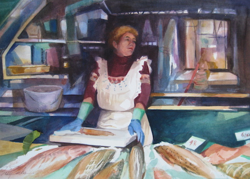 """Fishmonger"" Watercolor, 22"" x 16"" by artist Cindy Sacks. See her portfolio by visiting www.ArtsyShark.com"