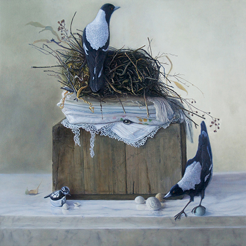 """Imposter"" Oil on Panel, 24"" x 22"" by artist Linda Schroeter. See her portfolio by visiting www.ArtsyShark.com"