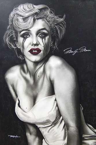 """Marilyn Monroe (THE TRUE MARILYN)"" Acrylic on Clay-board, 2' x 3' by artist Dan Menta. See his portfolio by visiting www.ArtsyShark.com"