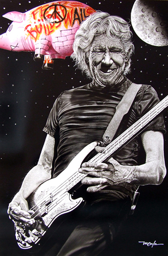 """Roger Waters (FEAR BUILDS WALLS)"" Acrylic on Clay-board, 2' x 3'by artist Dan Menta. See his portfolio by visiting www.ArtsyShark.com"