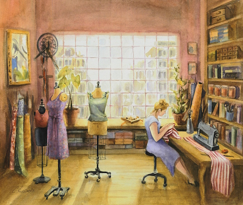 """Seamstress"" Watercolor, 28"" x 22"" by artist Cindy Sacks. See her portfolio by visiting www.ArtsyShark.com"