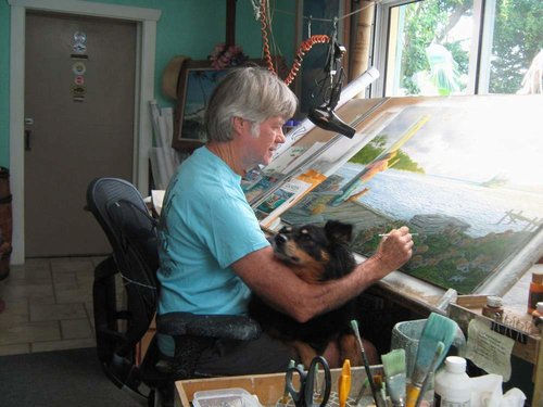 "Artist Richard Shaffett in his studio working on ""Gone Again."" See his portfolio by visiting www.ArtsyShark.com"