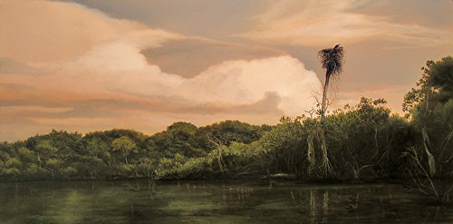 """Thunderstorms over the Barron River"" Oil on Board, 24"" x 12"" by artist Jeff Ripple. See his portfolio by visiting www.ArtsyShark.com"