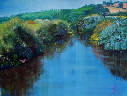 """Along the River Exe"" Acrylic on Canvas, 21"" x 16"" by artist Mike Jory. See his portfolio by visiting www.ArtsyShark.com"