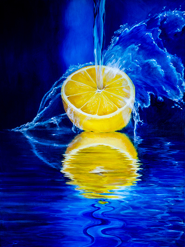 """And a Lemon on the Side"" Acrylic on Canvas, 30"" x 40""by artist Robin Harris. See her portfolio by visiting www.ArtsyShark.com"