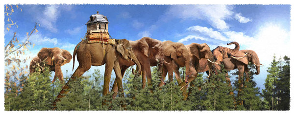 """Elephant Parade"" Digital Art, Various Sizes by artist John Leben. See his portfolio by visiting www.ArtsyShark.com"