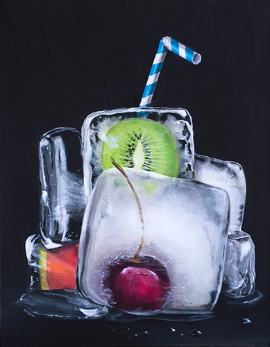 """Simply Sangria"" Acrylic on Canvas, 22"" x 28"" by artist Robin Harris. See her portfolio by visiting www.ArtsyShark.com"