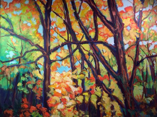 """Autumn 1"" 24"" x 30"", acrylic on canvas by Joyce Pihl. See her artist feature at www.ArtsyShark.com"