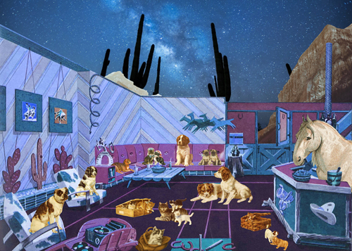 """Like Dogs and Cats"" Digital Collage, 70cm x 50cmby artist Gloria Sánchez. See her portfolio by visiting www.ArtsyShark.com"