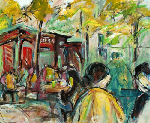 Artwork by Sharon Sieben - Bryant Park Rush, Acrylic