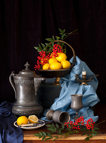 """Lemons and Red Berries"" Photography, Various Sizes by artist Yelena Strokin. See her portfolio by visiting www.ArtsyShark.com"
