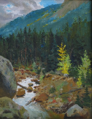 """Silver River Fall"" Oil, 11"" x 14"" by artist Don Borie. See his portfolio by visiting www.ArtsyShark.com"