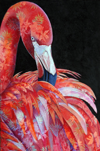 """Flaming Oh!"" Acrylic on Fabric on Cradled Panel, 24"" x 48"" by artist Ande Hall. See her portfolio by visiting www.ArtsyShark.com"