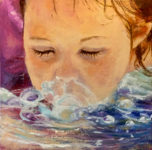 """Blowing Bubbles"" Oil and Cold Wax on Canvas, 12"" x 12"" by artist Sally Sharp. See her portfolio by visiting www.ArtsyShark.com"