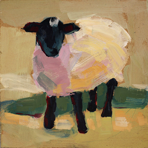 """Lamb in the Sun"" Acrylic on Board, 6"" x 6""by artist Sue Riger. See her portfolio by visiting www.ArtsyShark.com"