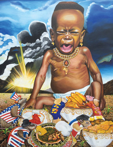 """African't (Africans Cannot Say No to Exploitation)"", oil on canvas, 56"" x 44"" by O. Yemi Tubi. See his artist feature at www.ArtsyShark.com"