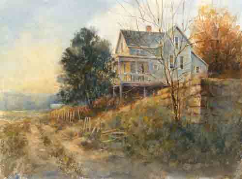 """Hilltop House"" Transparent Watercolor, 13.75"" x 10.25""by artist Dale Popovich. See his portfolio by visiting www.ArtsyShark.com"