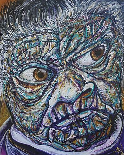 """Sad Face"" Acrylic on Canvas, 110cm x 90cm by artist Tina Dinte. See her portfolio by visiting www.ArtsyShark.com"