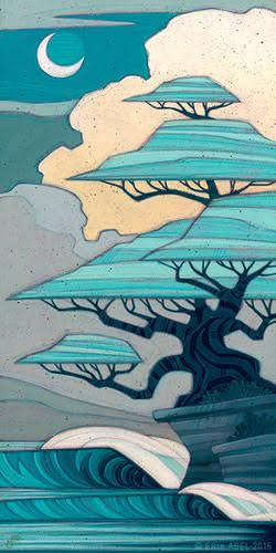 """Bonsai Bliss"" Acrylic and Colored Pencil on Wood Panel, 12"" x 24"" by artist Erik Abel. See his portfolio by visiting www.ArtsyShark.com"