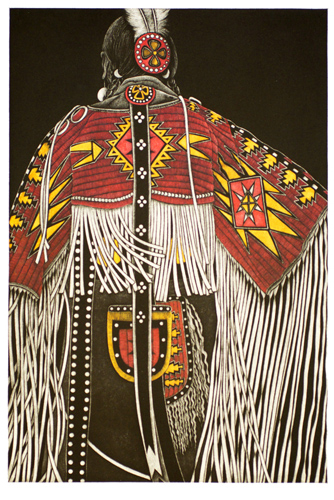 """Red Quilled Cape II"" mezzotint, 18"" x 12"" by Linda Whitney. See her artist feature at www.ArtsyShark.com"