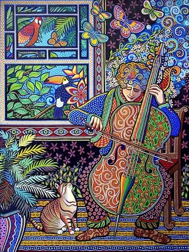"""Cello Player"" Acrylic, 30"" x 40"" by artist Daniella Willet-Rabin. See her portfolio by visiting www.ArtsyShark.com"