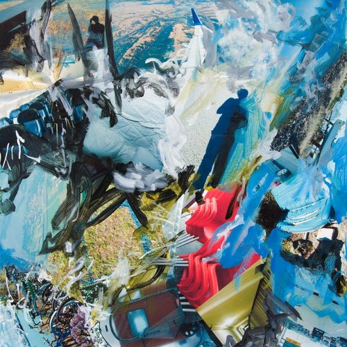 """Horse Rider"" Mixed Media Photo Collage and Acrylic Paint on Canvas, 30"" x 30""by artist Kim Vergil. See her portfolio by visiting www.ArtsyShark.com"