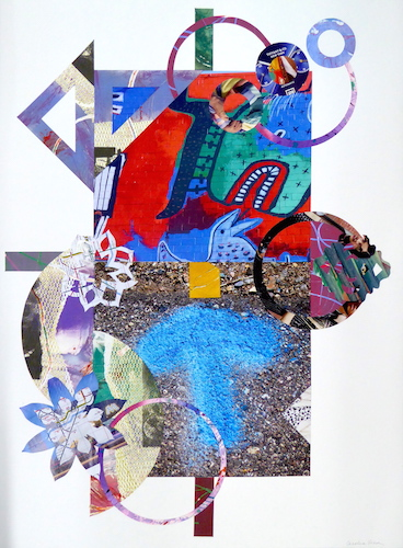 """Chasing The Unexpected"" Collage, 22"" x 30""by artist Cecelia Feld. See her portfolio by visiting www.ArtsyShark.com"