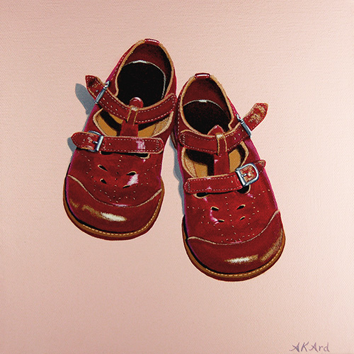 """3 Sisters, 1 Pair"" Acrylic on Canvas, 10"" x 10"" by artist Alisha K. Ard. See her portfolio by visiting www.ArtsyShark.com"