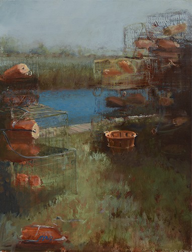 """Crab Pots"" Oil on Panel, 16"" x 20""by artist Donna Lee Nyzio. See her portfolio by visiting www.ArtsyShark.com"