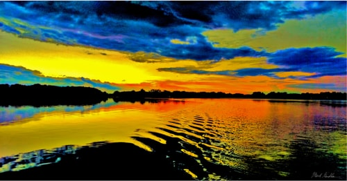 """Autumn Sunset Ride"" Digital Photography, 40"" x 21""by artist Mark Goodhew. See his portfolio by visiting www.ArtsyShark.com"