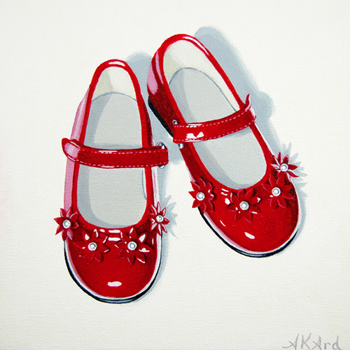 """Red Pair 1"" Acrylic on Canvas Panel, 8"" x 8""by artist Alisha K. Ard. See her portfolio by visiting www.ArtsyShark.com"