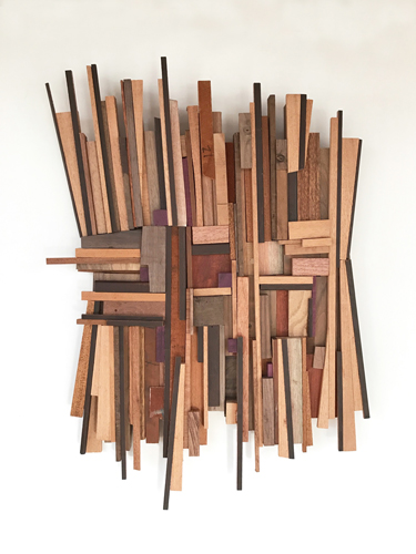 """412"" Repurposed Mahogany, Cherry, Walnut, Bubinga and Purpleheart Woods, 26"" x 30"" by artist Scott Troxel. See his portfolio by visiting www.ArtsyShark.com"