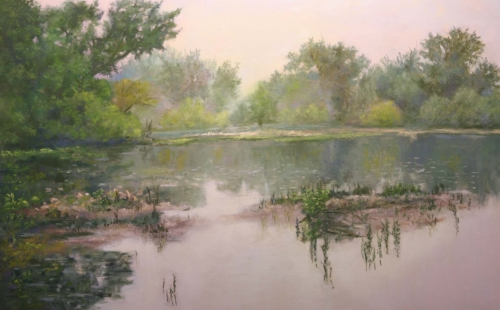 """Fog Lifting on the Huron"" Soft Pastel, 20"" x 14"" by artist Bob Palmerton. See his portfolio by visiting www.ArtsyShark.com"