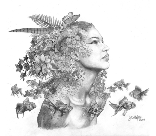 """Gaia"" Graphite, 14"" x 12"" by artist Joseph Bellofatto. See his portfolio by visiting www.ArtsyShark.com"