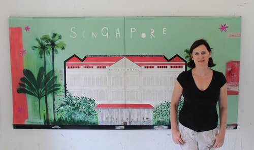 "Artist Clare Haxby in her studio with ""Raffles Hotel"" Mixed Media on Canvas, 244cm x 122cm by artist Clare Haxby. See her portfolio by visiting www.ArtsyShark.com"