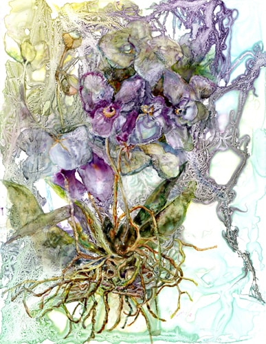 """Orchid Zen"" Watercolor, 10"" x 13"" by artist Katherine Weber. See her portfolio by visiting www.ArtsyShark.com"