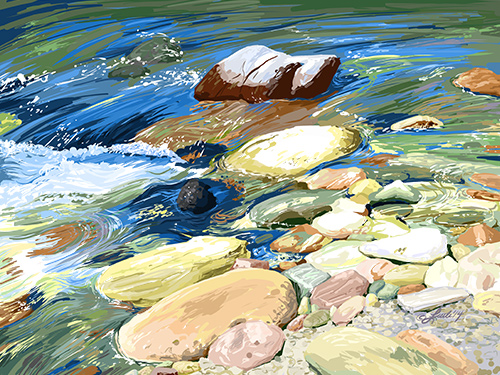 """River Rocks"" Digital Painting, 14"" x 10"" by artist Pam Little. See her portfolio by visiting www.ArtsyShark.com"