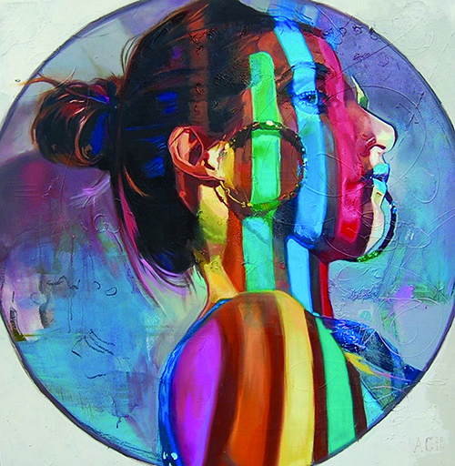 """The Earring"" Oil on Wood Panel, 36"" x 36"" by artist Ashley Cassens. See her portfolio by visiting www.ArtsyShark.com"