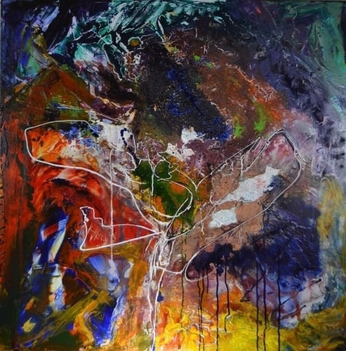 """Catcher of Light"" Acrylic and Oil on Canvas, 36"" x 36""by artist MarianneB Van Der Haar. See her portfolio by visiting www.ArtsyShark.com"
