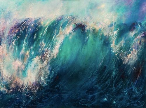 """The Release"" Oil on Canvas, 70"" x 52"" by artist Samantha Kaplan. See her portfolio by visiting www.ArtsyShark.com"