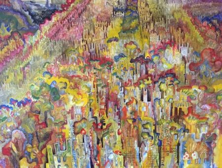 """""""Taking Paris"""" Acrylic and Pencil, 4' x 3' by artist Abigail Andre. See her portfolio by visiting www.ArtsyShark.com"""