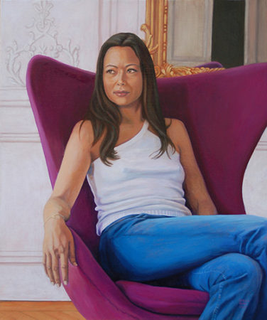 """""""Isabelle at Home in Paris"""" Oil on Linen, 20"""" x 24"""" by artist Sheila Kern. See her portfolio by visiting www.ArtsyShark.com"""